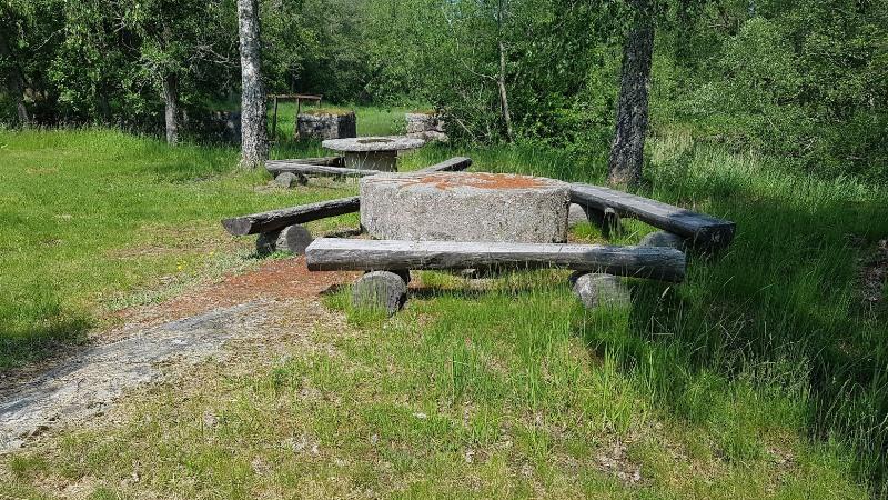 Bänkar och bord vid Sagåkanten